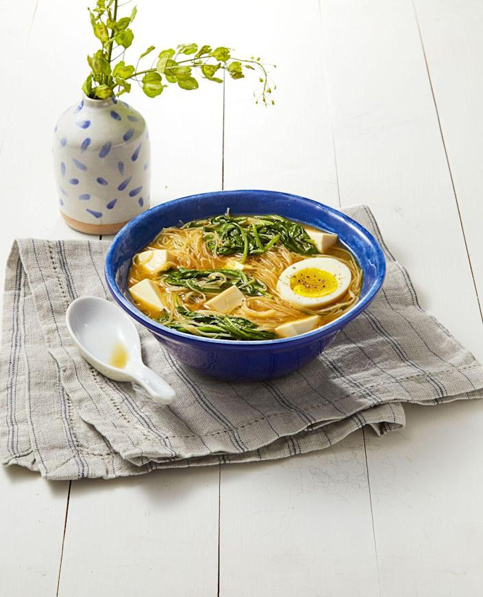 """<p>Instant ramen has a bad rap among busy families, but this lightning fast bowl of glass noodles will easily change your mind. The fresh spinach is a 30-second addition that'll make the bowl that much better.</p><p><em><a href=""""https://www.goodhousekeeping.com/food-recipes/easy/a35273/miso-spinach-noodles/"""" rel=""""nofollow noopener"""" target=""""_blank"""" data-ylk=""""slk:Get the recipe for Miso Spinach Noodles »"""" class=""""link rapid-noclick-resp"""">Get the recipe for Miso Spinach Noodles »</a></em></p>"""