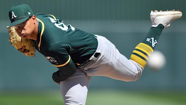 After only one bullpen session, A's top prospect Jesus Luzardo is already impressing manager Bob Melvin.