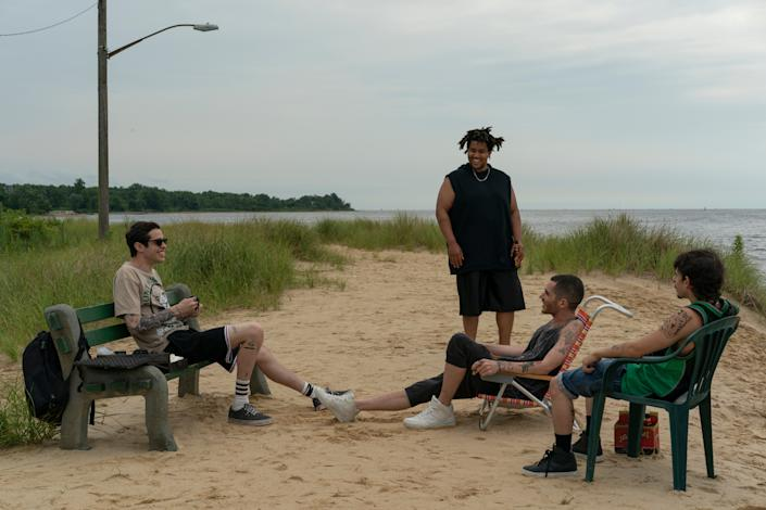 "<h1 class=""title"">THE KING OF STATEN ISLAND</h1> <div class=""caption""> Davidson's real-life haunts were featured in the film, including this quiet stretch on Robinson Beach. </div> <cite class=""credit"">Photo: Mary Cybulski / Universal Pictures</cite>"