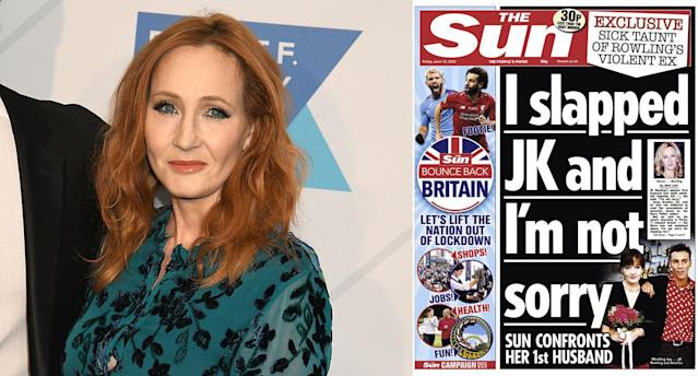 The Sun front page has been criticised as giving a voice to an alleged perpetrator of domestic violence. (PA/Twitter)