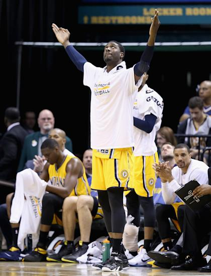 Roy Hibbert prepares to bathe in the sunlight of Southern California. (Andy Lyons/Getty Images)