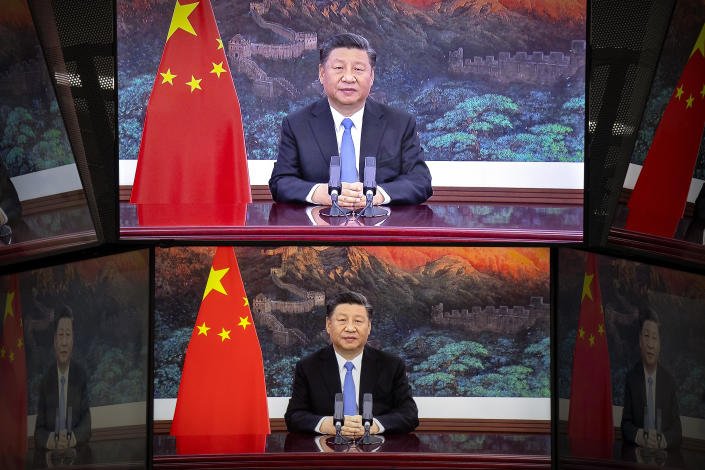Chinese President Xi Jinping is shown delivering an address to China International Import Expo in November.