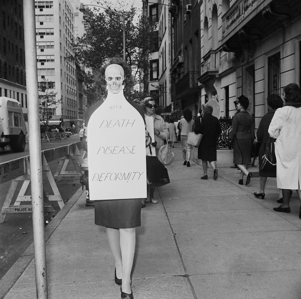 A group of women outside the Russian Mission to the United Nations in New York City protest the testing of nuclear arms on Nov. 1, 1961. They are part of the Women's Strike for Peace, a one-day demonstration by American women in many cities throughout the United States.