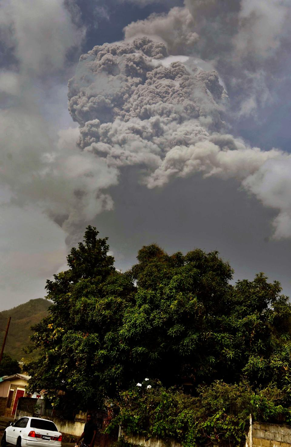Plumes of ash rise from the La Soufriere volcano on the eastern Caribbean island of St. Vincent on Friday.