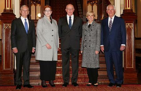 FILE PHOTO: Governor of New South Wales David Hurley (C), hosts (L-R) U.S. Secretary of Defence Jim Mattis, Australian Minister for Defence Marise Payne, Australian Minister for Foreign Affairs Julie Bishop and U.S. Secretary of State Rex Tillerson at Government House in Sydney, Australia, June 5, 2017 for the 2017 Australia-United States Ministerial Consultations (AUSMIN). REUTERS/Mark Metcalfe/Pool/File Photo