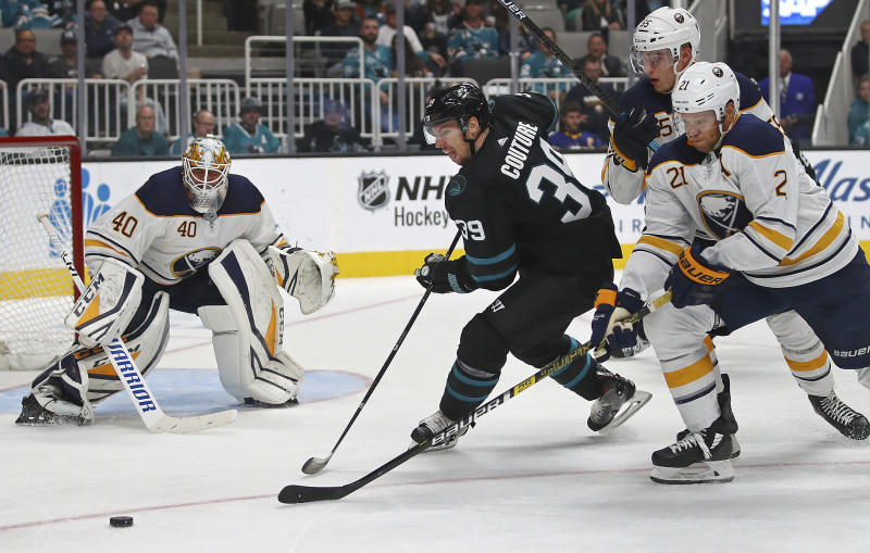 776f9214c13 Logan Couture has hat trick to lead Sharks past Sabres 5-1