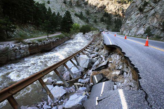 A washed out road in Boulder, Colorado following major flooding in 2013.