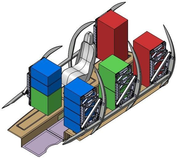 This illustration shows four experiment racks and a seat for the flight test engineer in the cabin of SpaceShipTwo.
