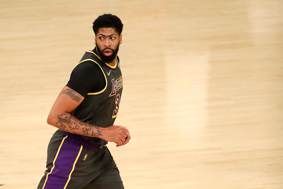 Anthony Davis #3 of the Los Angeles Lakers reacts to a play against the Denver Nuggets during the first quarter at Staples Center on May 03, 2021 in Los Angeles, California. NOTE TO USER: User expressly acknowledges and agrees that, by downloading and or using this photograph, User is consenting to the terms and conditions of the Getty Images License Agreement. (Photo by Katelyn Mulcahy/Getty Images)