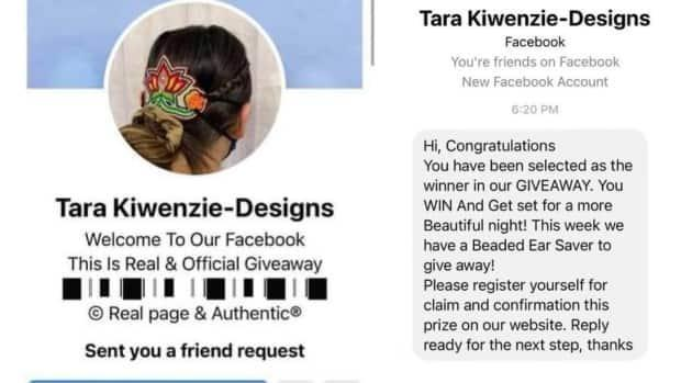 A screenshot of the fake Tara Kiwenzie Designs account and message the fraudsters sent to new followers to solicit banking information. (Submitted by Tara Kiwenzie  - image credit)