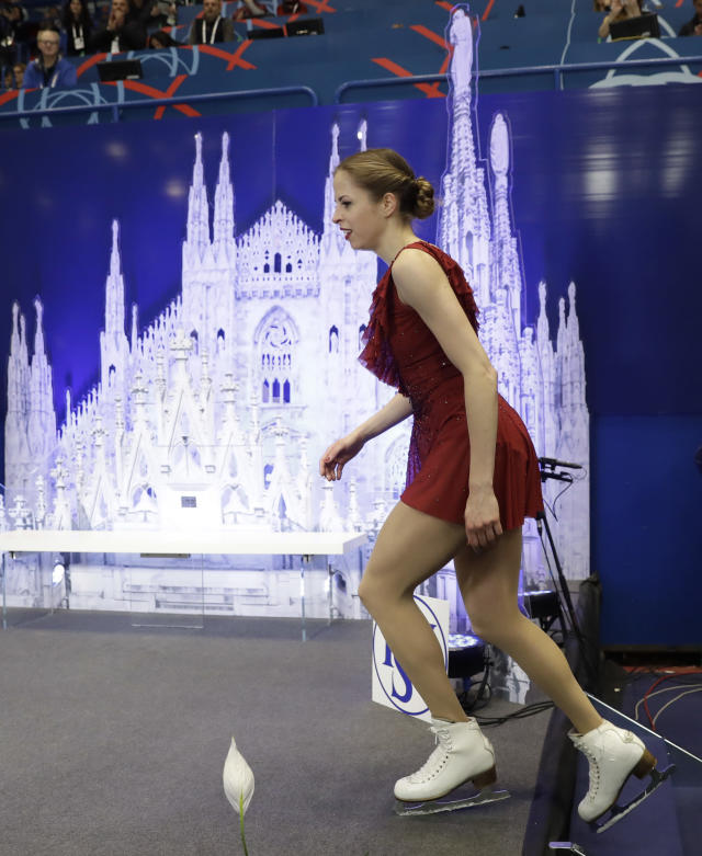 Italy's Carolina Kostner arrives at the kiss and cry area after performing during women's short program at the Figure Skating World Championships in Assago, near Milan, Wednesday, March 21, 2018. (AP Photo/Luca Bruno)
