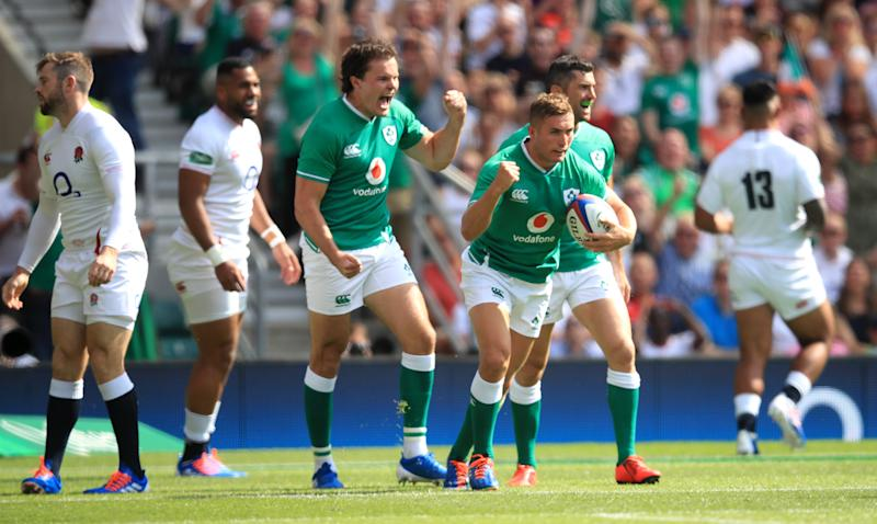 Ireland's Jordan Larmour celebrates scoring his side's first try of the game during the Quilter International match at Twickenham Stadium, London. (Photo by Adam Davy/PA Images via Getty Images)