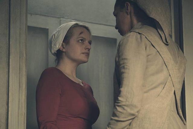 Elisabeth Moss as Offred and Amanda Brugel as Rita. (Photo: Courtesy of Hulu)
