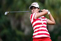 Julieta Granada of Paraguay plays the second hole during the third round of the CME Group Tour Championship at Tiburon Golf Club on November 22, 2014, in Naples, Florida (AFP Photo/Sam Greenwood)