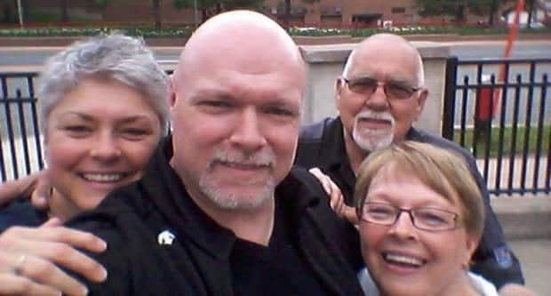 Mike Pitre, centre, is shown with his sister, Sylvie, father, Leonda, and Lucienne, his mother.