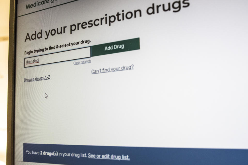 """President Trump's administration's new and highly touted online tool for seniors to find Medicare prescription drug plans show a status bar, bottom in blue, showing """"2 drugs in your drug list"""" which is not accurate and interferes with the total drugs added to the Personal Drug List, in Arlington, Va., Thursday, Nov. 21, 2019. The online tool has problems providing key information. (AP Photo/Cliff Owen)"""