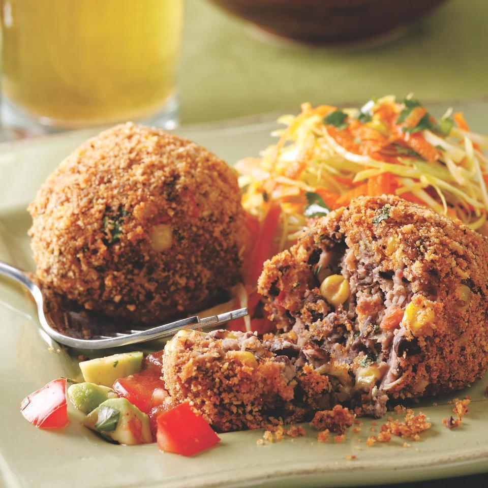 <p>Staples like canned black beans and frozen corn transform into spicy croquettes in mere minutes. Serve with warm corn tortillas, coleslaw and lime wedges.</p>