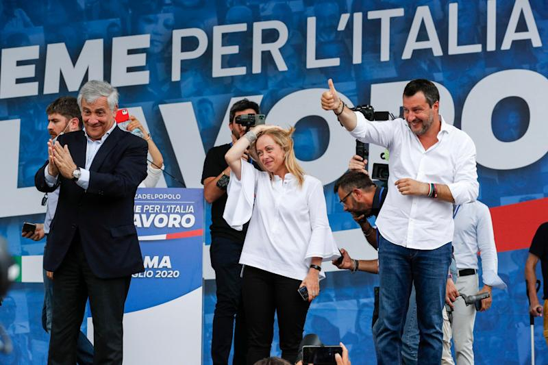 Vice President of Italian party 'Forza Italia' Antonio Tajani (L), President of Italian party 'Fratelli d'Italia' Giorgia Meloni (C) and Federal Secretary of Italian party 'Lega Nord' Matteo Salvini during an event organized by the center-right wing parties at Piazza del Popolo in Rome, Italy, 04 July 2020. ANSA/GIUSEPPE LAMI (Photo: ANSA)