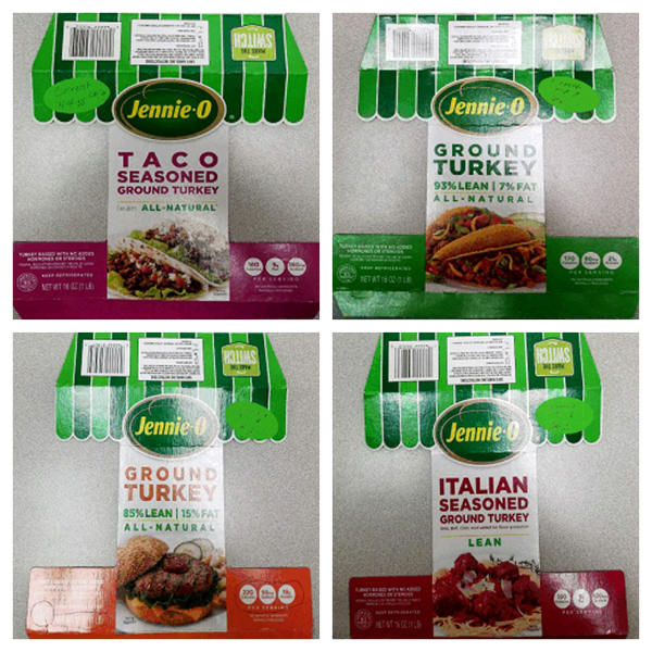 This combination of images provided by Hormel Foods on Friday, Nov. 16, 2018 shows packaging for four types of Jennie-O ground raw turkey with a P190 designation which have been recalled due to concerns over salmonella. Salmonella in food is estimated to be responsible for 1 million illnesses a year, with symptoms including vomiting, diarrhea and stomach cramps. (Hormel Foods via AP)