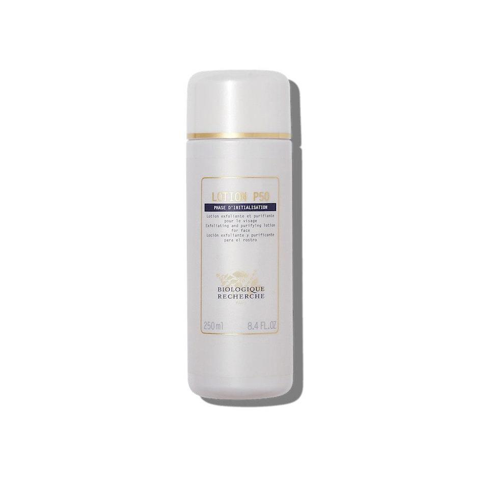 """Biologique Recherche Lotion P50 is a fan-favorite lotion that's formulated with multiple chemical exfoliants, including lactic acid (an alpha hydroxy acid), and <a href=""""https://www.allure.com/story/what-does-salicylic-acid-do?mbid=synd_yahoo_rss"""" rel=""""nofollow noopener"""" target=""""_blank"""" data-ylk=""""slk:salicylic acid"""" class=""""link rapid-noclick-resp"""">salicylic acid</a> (a beta hydroxy acid). According to Hayag, the formula is also infused with hydrating ingredients like <a href=""""https://www.allure.com/story/what-is-niacinamide-skin-care-benefits?mbid=synd_yahoo_rss"""" rel=""""nofollow noopener"""" target=""""_blank"""" data-ylk=""""slk:niacinamide"""" class=""""link rapid-noclick-resp"""">niacinamide</a> to """"help leave your skin with a more radiant complexion."""""""