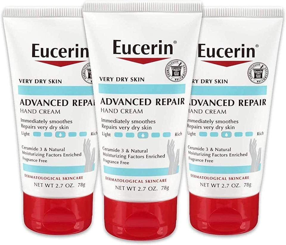 <p>This <span>Eucerin Advanced Repair Hand Cream</span> ($13 for 3) is super thick, and you can keep one in every purse.</p>
