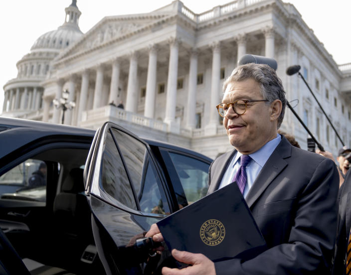 Sen. Al Franken, D-Minn., leaves the Capitol after speaking on the Senate floor, Thursday, Dec. 7, 2017, on Capitol Hill in Washington. Franken said he will resign from the Senate in coming weeks following a wave of sexual misconduct allegations and a collapse of support from his Democratic colleagues, a swift political fall for a once-rising Democratic star. (Photo: Andrew Harnik/AP)