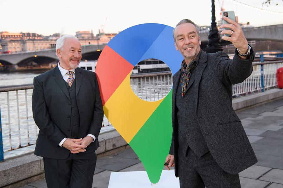 Actors (Left to right) Simon Callow and John Hannah stand next to a Google Maps pin at Londons Southbank. (Matt Crossick/PA Wire)