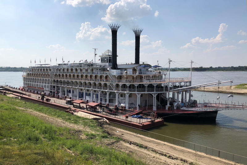 This photo shows the American Queen steamboat docked on the Mississippi River in Memphis, Tenn., Monday, Sept. 16, 2019, where a U.S. Geological Survey nutrient sensor was installed to measure nutrient levels and water quality along the Mississippi River. The data-gathering sensor attached to the steamboat will give scientists and cities a better understanding of water quality along the entire span of the Mississippi River, officials said Monday. (AP Photo/Adrian Sainz)