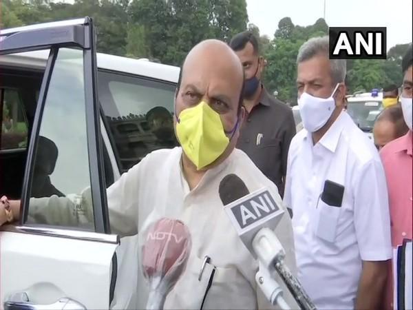 Karnataka Minister Basavaraj Bommai speaking to reporters in Bengaluru on Tuesday. Photo/ANI