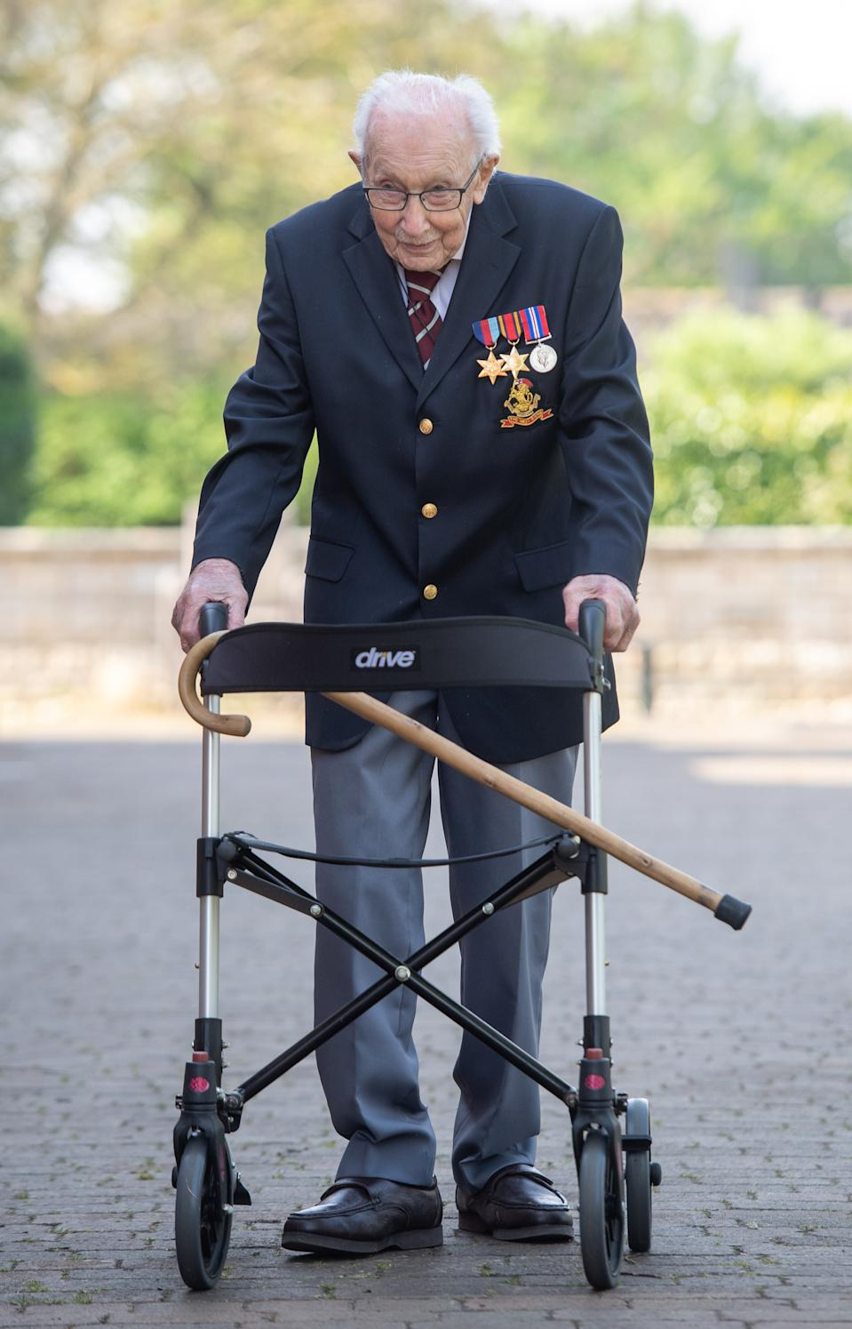 99-year-old war veteran Captain Tom Moore at his home in Marston Moretaine, Bedfordshire, after he achieved his goal of 100 laps of his garden - raising more than 12 million pounds for the NHS. (Photo by Joe Giddens/PA Images via Getty Images)