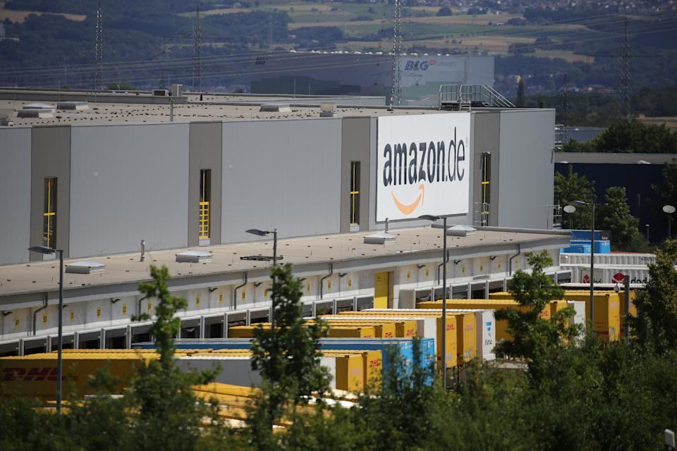 KOBERN-GONDORF, GERMANY - JUNE 29: A general view of an Amazon warehouse is pictured during the coronavirus pandemic on June 29, 2020 in Kobern-Gondorf near Koblenz, Germany. The Verdi labor union has called for strikes at six Amazon warehouse across Germany in order to put pressure on the company over an ongoing disagreement over pay as well as improving workplace conditions to help prevent outbreaks of the coronavirus. Approximately 40 Amazon employees tested positive recently for Covid-19 infection at an Amazon warehouse in Bad Hersfeld. (Photo by Andreas Rentz/Getty Images)