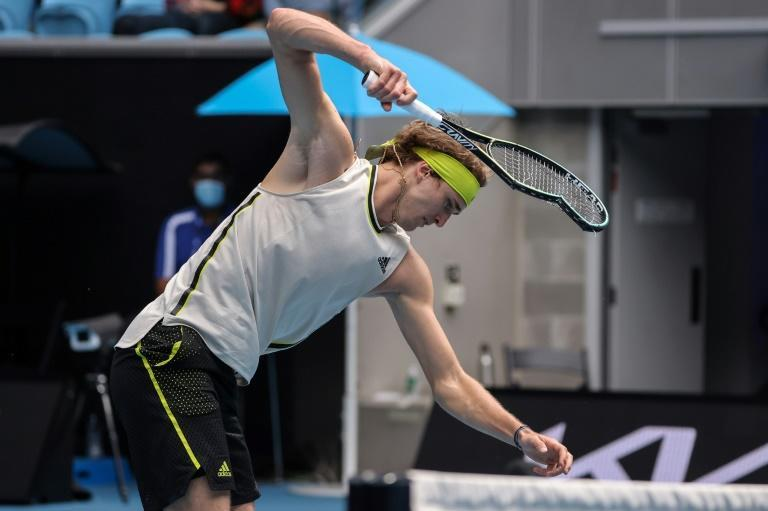 Germany's Alexander Zverev took out his frustrations on his racquet
