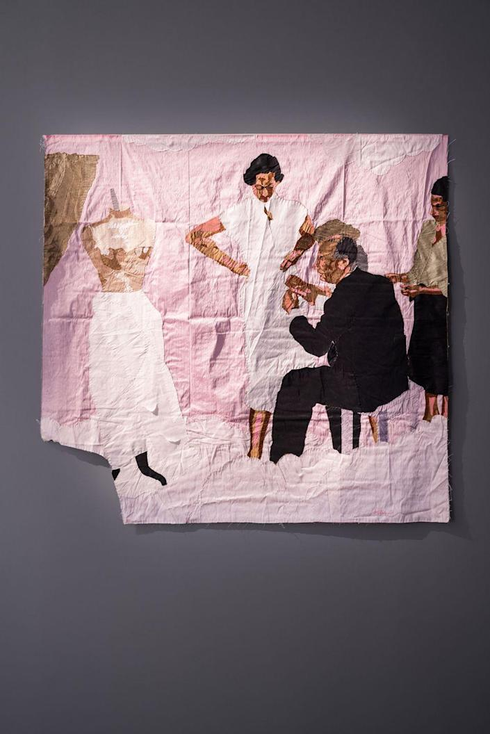 <p>An artful depiction of Christian Dior in his atelier.</p>
