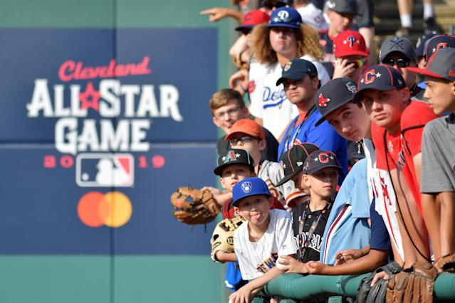 Young fans react prior to the 2019 MLB All-Star Game, presented by Mastercard at Progressive Field on July 09, 2019 in Cleveland, Ohio. (Photo by Jason Miller/Getty Images)