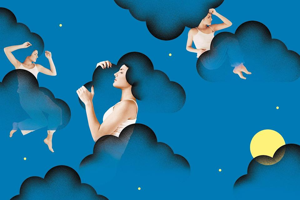 A composite image of a woman sleeping in illustrated clouds in a night sky