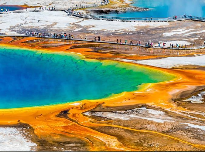 """<p>Of all of nature's incredible work, this <a href=""""https://www.purewow.com/travel/10-of-the-Most-Colorful-Places-in-the-U-S-"""" rel=""""nofollow noopener"""" target=""""_blank"""" data-ylk=""""slk:rainbow-ringed"""" class=""""link rapid-noclick-resp"""">rainbow-ringed</a> <a href=""""https://www.purewow.com/travel/instagrams-of-santorini"""" rel=""""nofollow noopener"""" target=""""_blank"""" data-ylk=""""slk:natural hot spring"""" class=""""link rapid-noclick-resp"""">natural hot spring</a> in Yellowstone National Park still manages to blow our minds.</p>"""