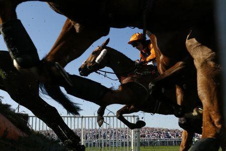 Britain Horse Racing - Grand National Festival - Aintree Racecourse - 8/4/17 Leighton Aspell on Potters Legend in action during 3:40 Betway Handicap Chase Action Images via Reuters / Andrew Boyers Livepic