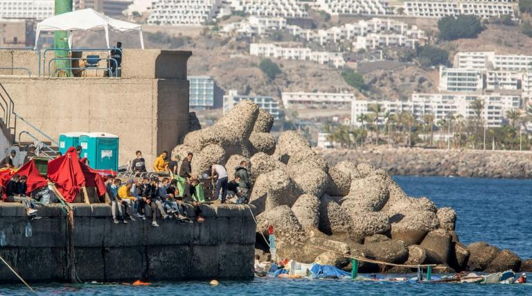 Rescued migrants arrive in the Gran Canaria port of Arguineguin a few days ago. The migrant surge and the coronavirus pandemic have kept the tourists away from the archipelago