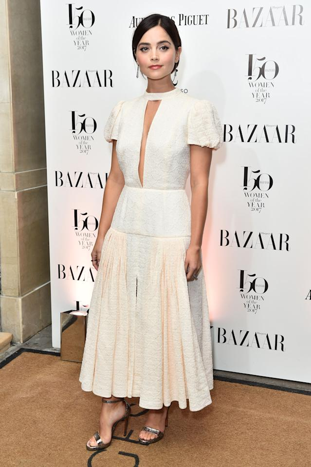 <p>The 'Victoria' actress stood out in a regal white Emilia Wickstead design.<br /><i>[Photo: Getty]</i> </p>