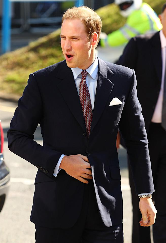 LONDON, UNITED KINGDOM - SEPTEMBER 29:  Prince William, Duke of Cambridge arrives at The Royal Marsden Hospital at Belmont, Sutton on September 29, 2011 in London, England. Prince William, Duke of Cambridge and Catherine, Duchess of Cambridge opened the new Oak Centre for Children and Young People at The Royal Marsden Hospital.  (Photo by Brendon Thorne/Getty Images)