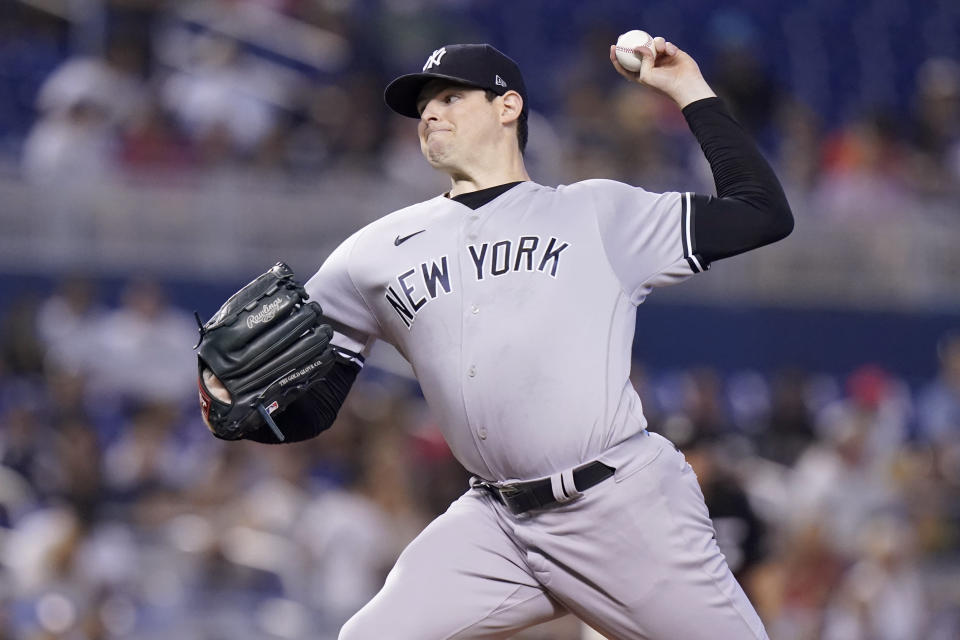 New York Yankees starting pitcher Jordan Montgomery throws during the first inning of a baseball game Miami Marlins, Sunday, Aug. 1, 2021, in Miami. (AP Photo/Lynne Sladky)