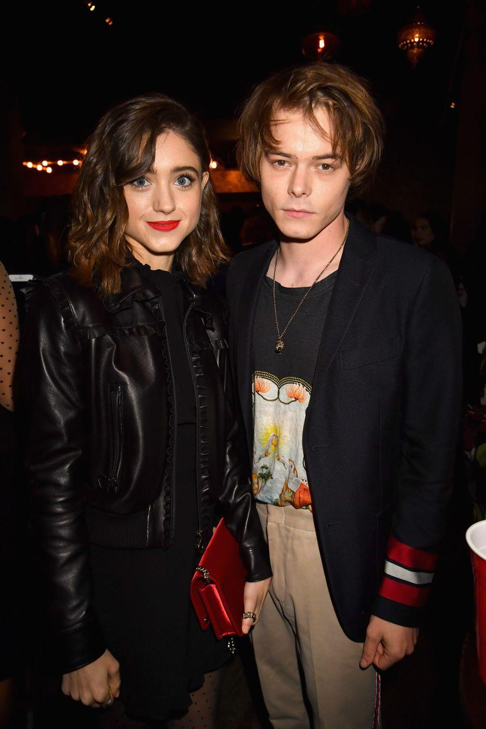 """<p>Natalia Dyer and Charlie Heaton took their Stranger Things romance off screen. The couple rarely divulges personal feelings in interviews, but there are ample photos of them <a href=""""https://www.elle.com/culture/a28069343/charlie-heaton-natalia-dyer-relationship-timeline/"""" rel=""""nofollow noopener"""" target=""""_blank"""" data-ylk=""""slk:putting on the PDA"""" class=""""link rapid-noclick-resp"""">putting on the PDA</a>. 'It's an interesting thing to work with somebody who you go home with,' Natlia told <a href=""""https://www.refinery29.com/en-us/2019/07/236305/natalia-dyer-stranger-things-season-3-nancy-wheeler-interview"""" rel=""""nofollow noopener"""" target=""""_blank"""" data-ylk=""""slk:Refinery29"""" class=""""link rapid-noclick-resp"""">Refinery29</a>. 'It's always really fun. We're really comfortable with each other, so we can play and feel more free, and we can talk about it before.'</p>"""