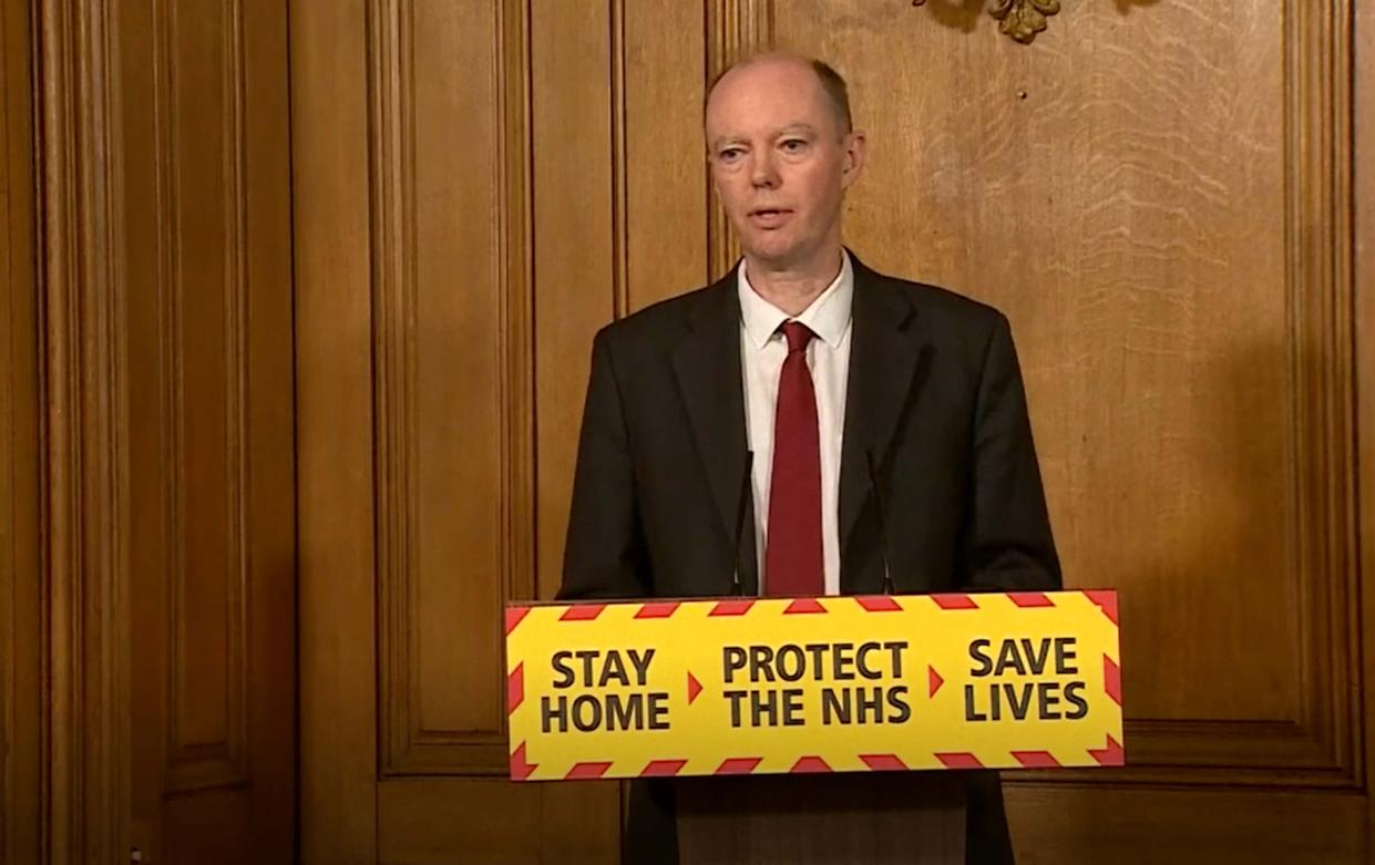 Screen grab of Chief Medical Officer Chris Whitty during a media briefing in Downing Street, London, on coronavirus (COVID-19).