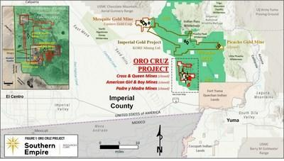 Figure 1: Location of the Oro Cruz Project relative to the Picacho Area of Critical Environmental Concern (CNW Group/Southern Empire Resources Corp.)