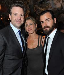 Jason Sudeikis (left) joins Aniston and Theroux. Jordan Strauss/WireImage.com