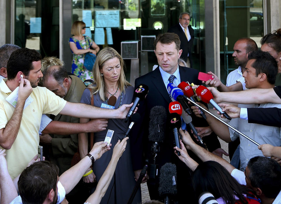 EDITORIAL USE ONLY File photo dated 16/06/14 of Gerry and Kate McCann, the parents of Madeleine McCann, talking to the press after attending the libel case against former Portuguese police chief Goncalo Amaral at Lisbon's Palace of Justice in Lisbon, Portugal. A German prisoner has been identified as a suspect in the disappearance of Madeleine, detectives have revealed. The Metropolitan Police have not named the man, 43, who is described as white with short blond hair, possibly fair, and about 6ft tall with a slim build.
