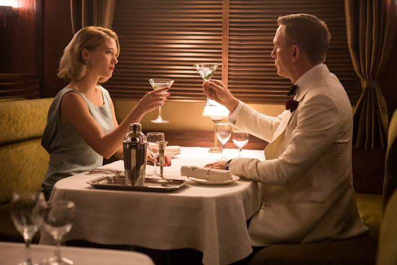 Madeleine Swann (Léa Seydoux) and James Bond (Daniel Craig) share a vodka martini in Spectre. (MGM/Eon/Sony Pictures)