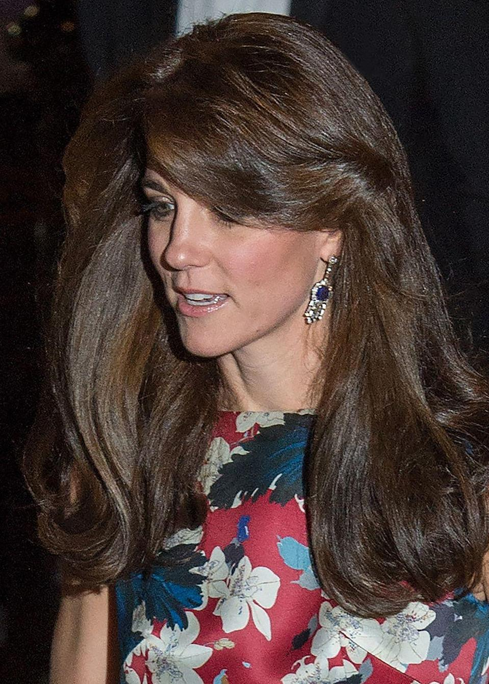 <p>In 2015, the Duchess of Cambridge wore her great-grandmother-in-law's sapphire and diamond fringe earrings for a gala at the Victoria and Albert Museum in London. </p>