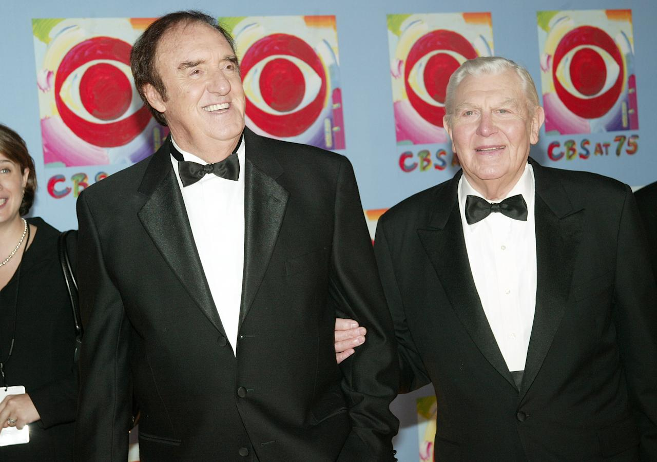 NEW YORK - NOVEMBER 02: (HOLLYWOOD REPORTER OUT) Actors Jim Nabors and Andy Griffith attend 'CBS at 75' television gala at the Hammerstein Ballroom November 02, 2003 in New York City. (Photo by Evan Agostini/Getty Images)