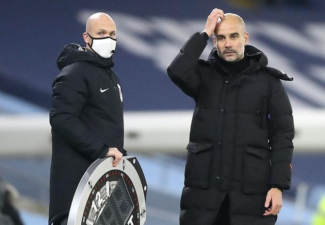 Pep Guardiola (right) hopes to see an improvement against Southampton